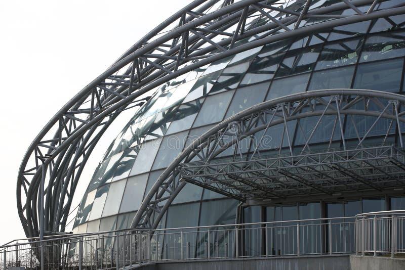 Jasionka,热舒夫,波兰- 9 2 2019年:超现代机场大厦 系动词的建筑设计与透明玻璃的 免版税库存照片