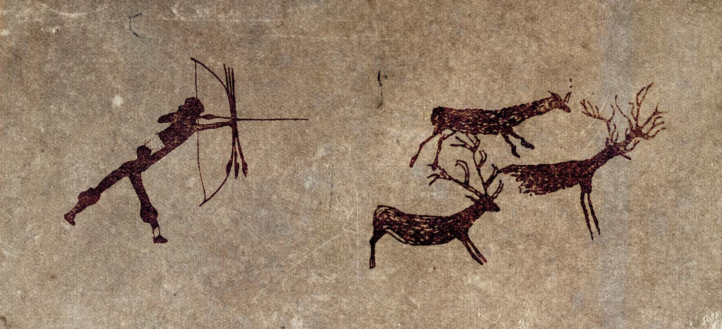 jaskinia hunter maluje prehistoryczną rozmnażania ilustracji