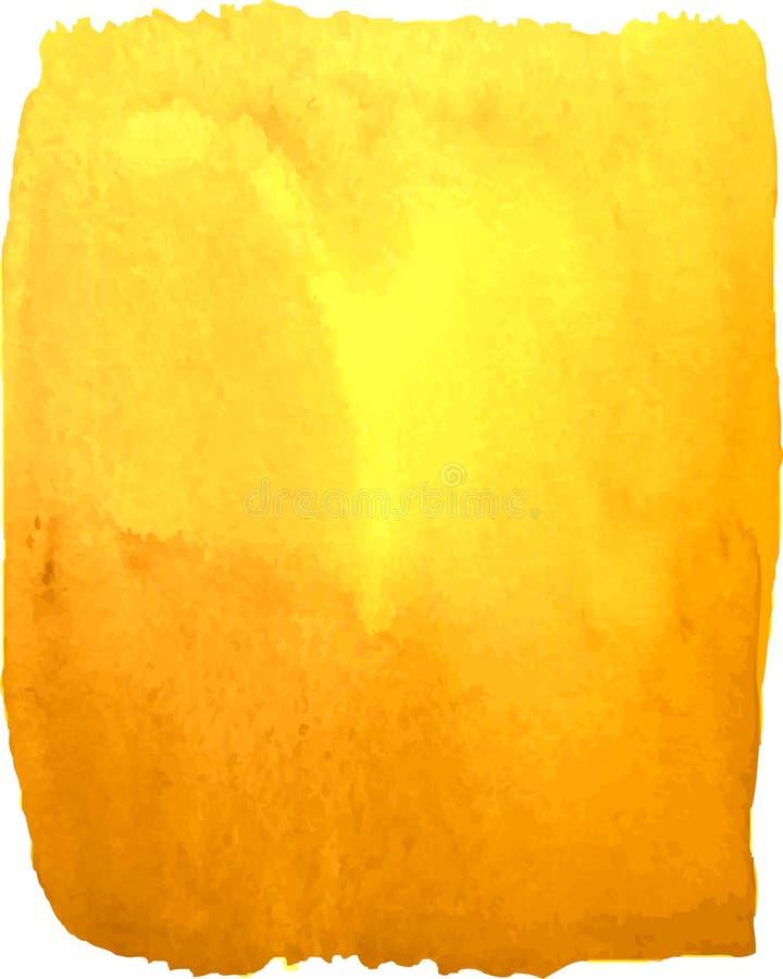 Jaskrawa żółta akwareli plama na białym tle ilustracji