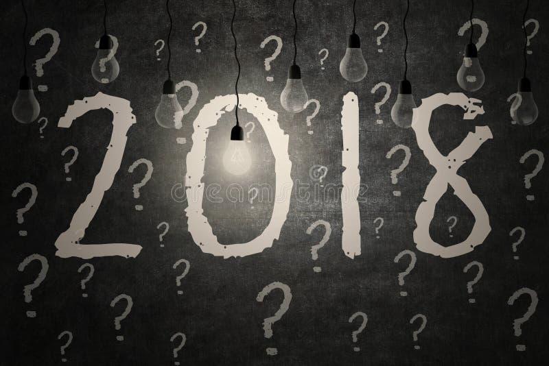 Jaskrawa żarówka iluminuje liczby 2018 na blackboard ilustracja wektor