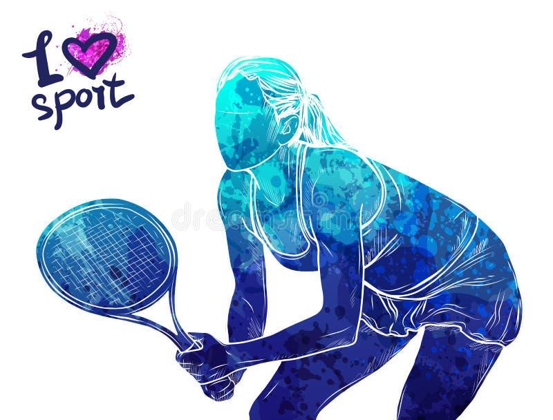 Jaskrawa akwareli sylwetka gracz w tenisa Wektorowa sport ilustracja Graficzna postać atleta Aktywni ludzie ilustracja wektor