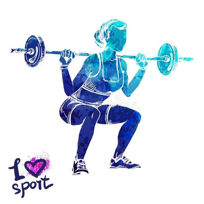 Jaskrawa akwareli sylwetka kobiety z barbell Wektorowa sport ilustracja ilustracja wektor