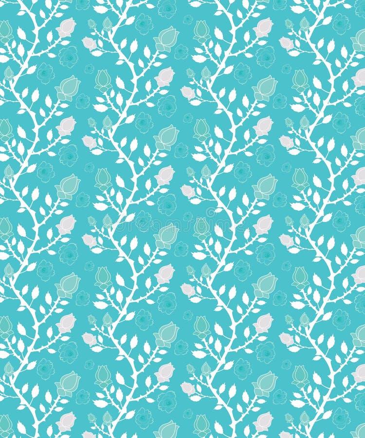 Jaskrawa błękitna, biała bezszwowa wzór płytka i ilustracji