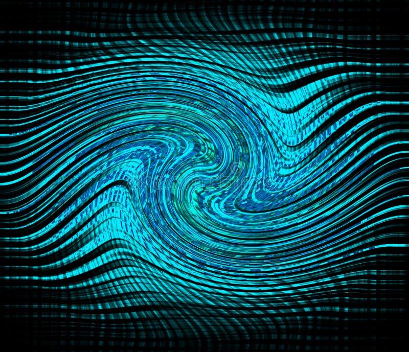 Jaskrawa błękitna neonowa jarzeniowa upłynnienie skutka fala Dynamiczny ruch Kręcone linie ilustracja wektor