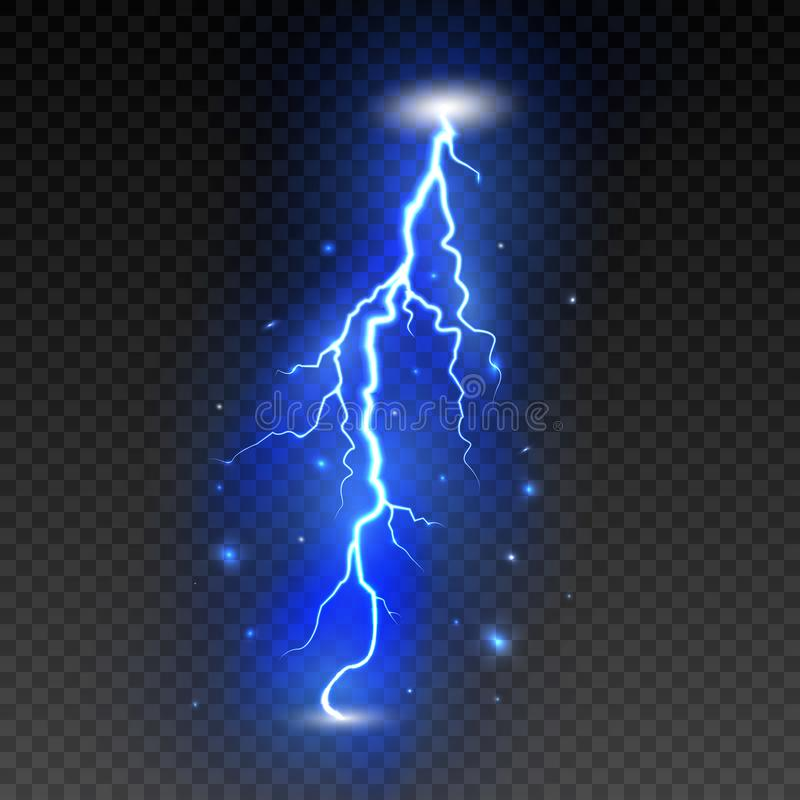 Jaskrawa błyskawica na przejrzystym tle Elektryczny błysk Grzmot błyskawica i rygiel również zwrócić corel ilustracji wektora ilustracja wektor