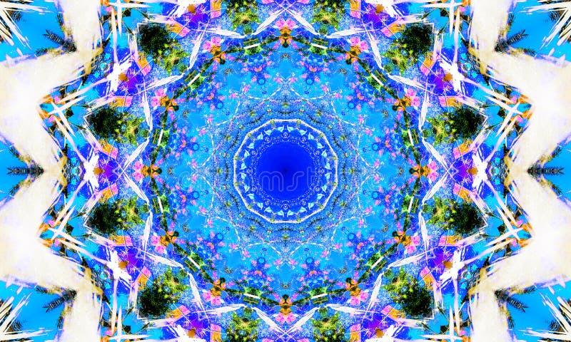Jaskrawa biała i błękitna mandala sztuka ilustracji