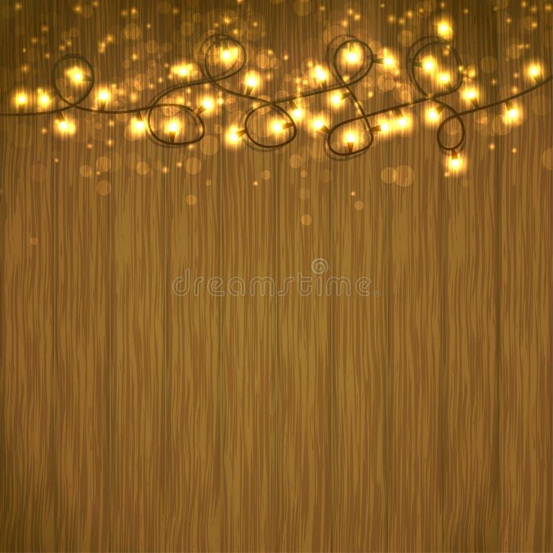 Jaskrawa bożonarodzeniowe światła girlanda nad drewnianym stołem royalty ilustracja