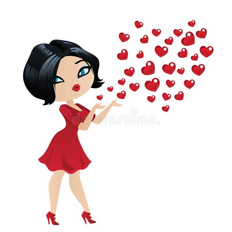 Jaskrawa brunetka w czerwonej sukni wysyła buziaki ilustracji
