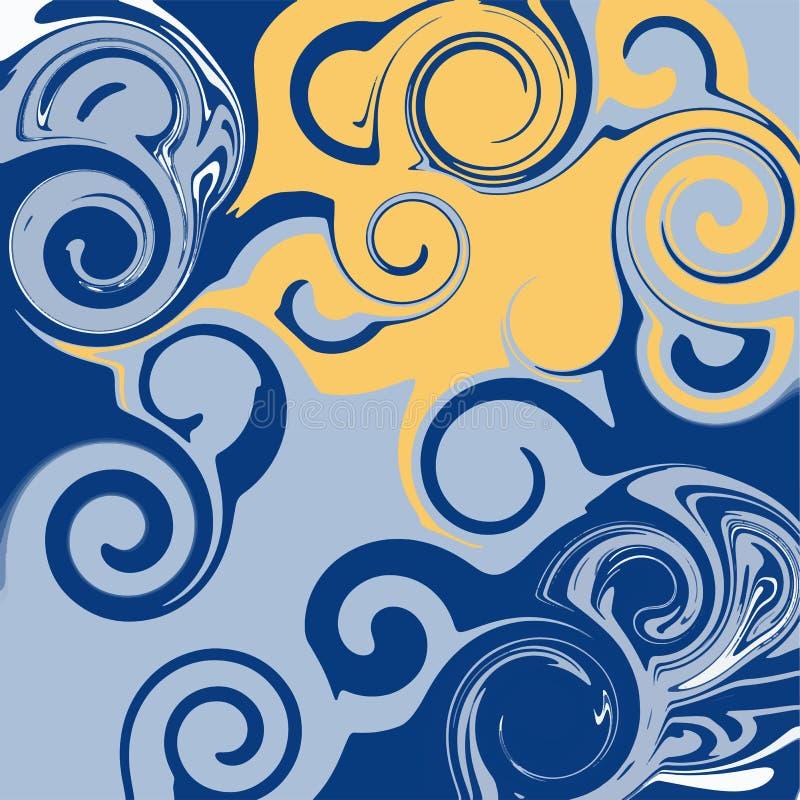 Jaskrawa brzmienie abstrakcja Imitacja marmur lub przepływ ciekłe farby royalty ilustracja