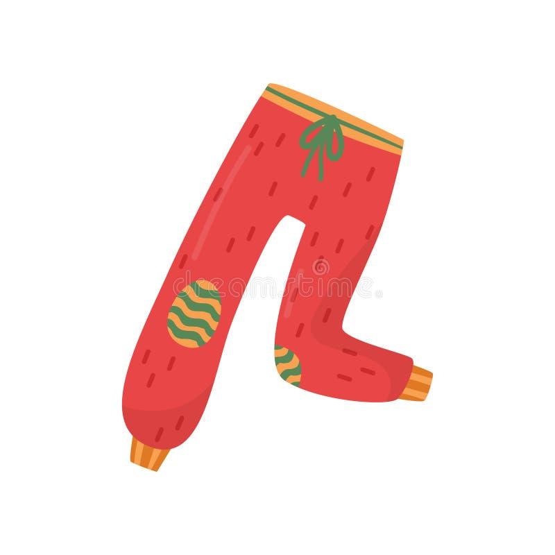 Jaskrawa czerwień dyszy z zieleni biczować i łatamy kolanami Ciepli joggers dla zimnego sezonu Zimy odzież Płaski wektorowy proje royalty ilustracja