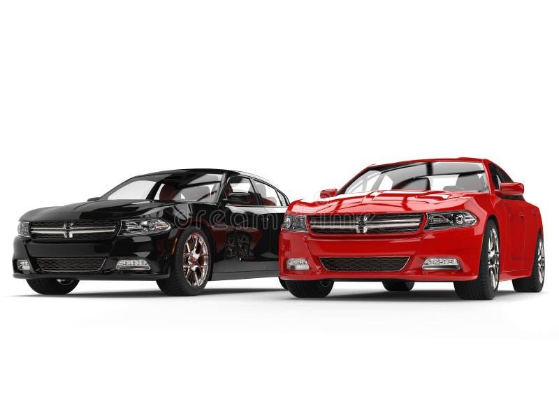 Jaskrawa czerwień i czarni nowożytni szybcy samochody obok - strona - strona - ilustracji