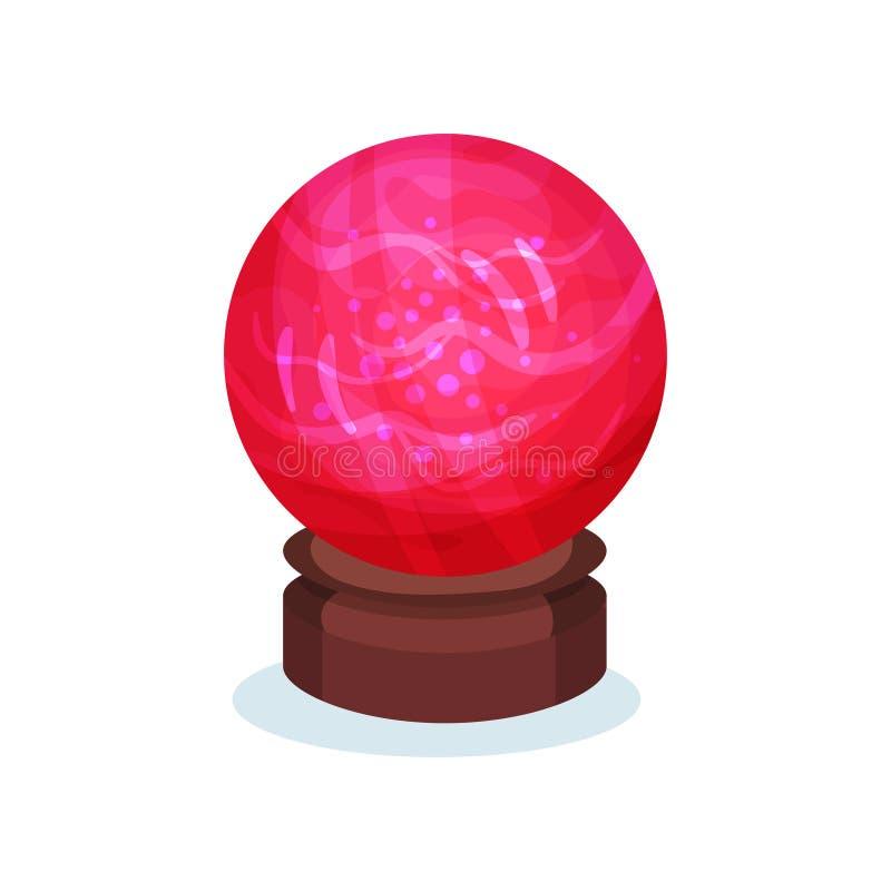 Jaskrawa czerwona magiczna sfera z różowy jarzyć się inside Duża szklana piłka na brown drewnianym stojaku Płaski wektorowy eleme royalty ilustracja