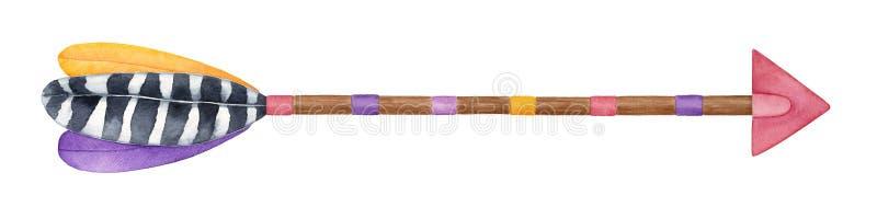Jaskrawa dekoracyjna drewniana strzała z piórko akwareli ilustracją ilustracja wektor
