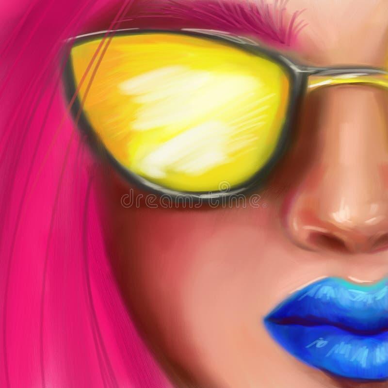 Jaskrawa dziewczyna w żółtych szkłach z różowym włosy w stylu cyfrowego obrazu olejnego zdjęcie royalty free