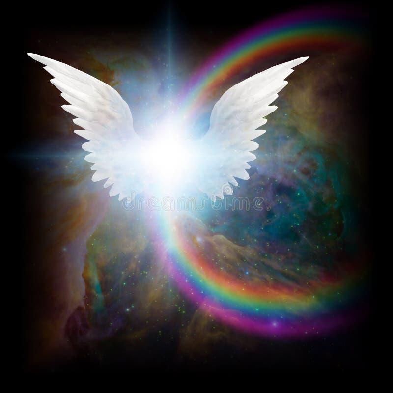 Jaskrawa gwiazda z białym anioła ` s uskrzydla ilustracja wektor