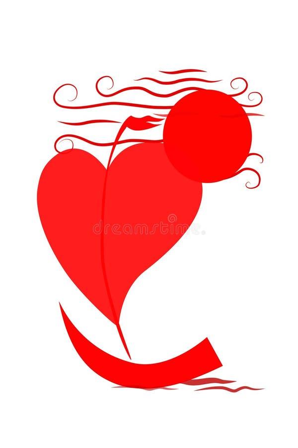 Jaskrawa ilustracja żaglówka jako serce unosi się na morzu na białym tle ilustracji