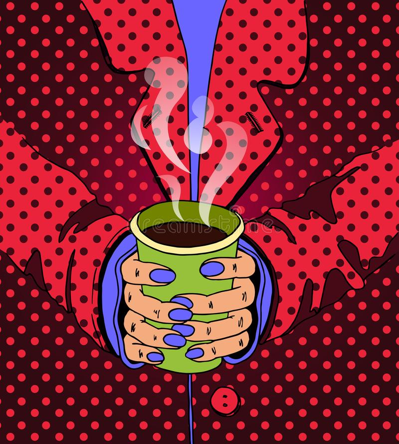 Jaskrawa ilustracja w wystrzał sztuki stylu Ręki trzyma napój ilustracja wektor