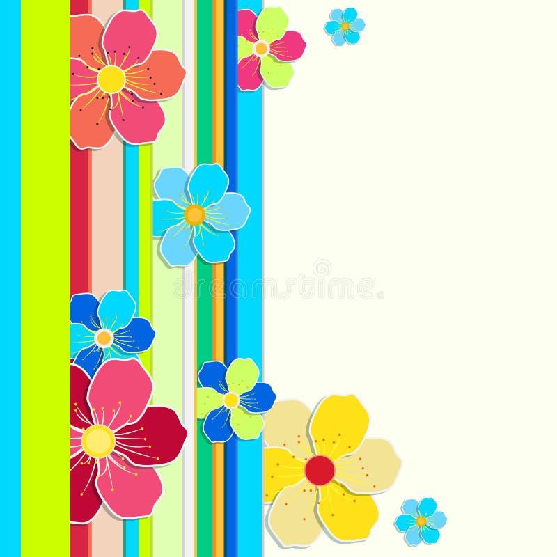 Jaskrawa karta z granicą barwioni lampasy i kwiaty ilustracja wektor