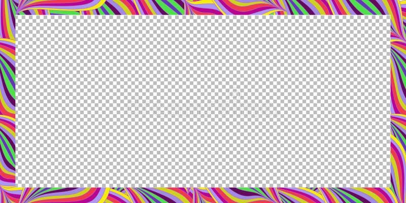 Jaskrawa kolorowa prostokąt rama Lato wzór z abstraktów liśćmi lub falami ilustracja wektor