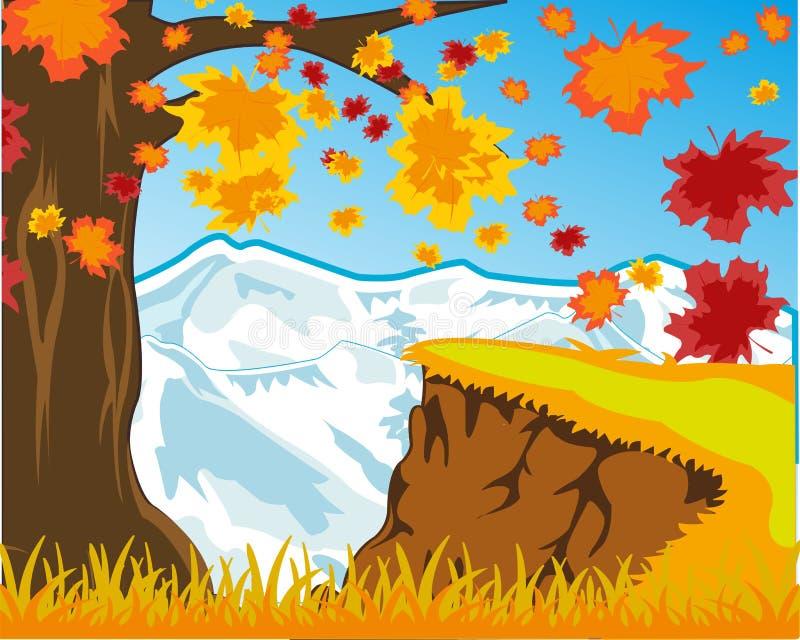 Jaskrawa krajobrazowa jesień i śnieżne góry również zwrócić corel ilustracji wektora ilustracja wektor