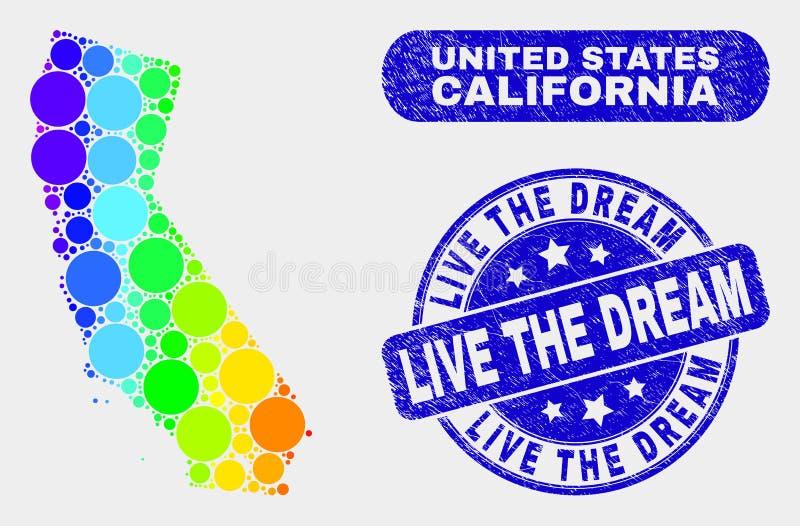 Jaskrawa mozaiki Kalifornia stanu mapa i Drapający Żywy Wymarzona foka royalty ilustracja