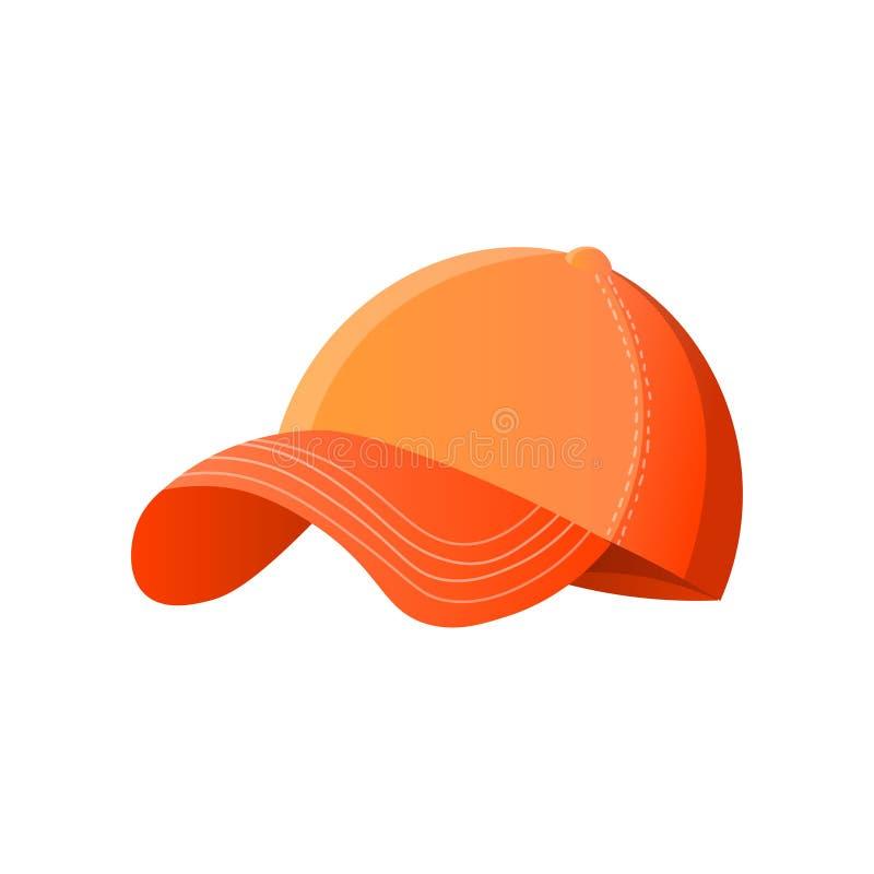 Jaskrawa pomarańczowa baseball nakrętka odizolowywająca na białym tle ilustracja wektor