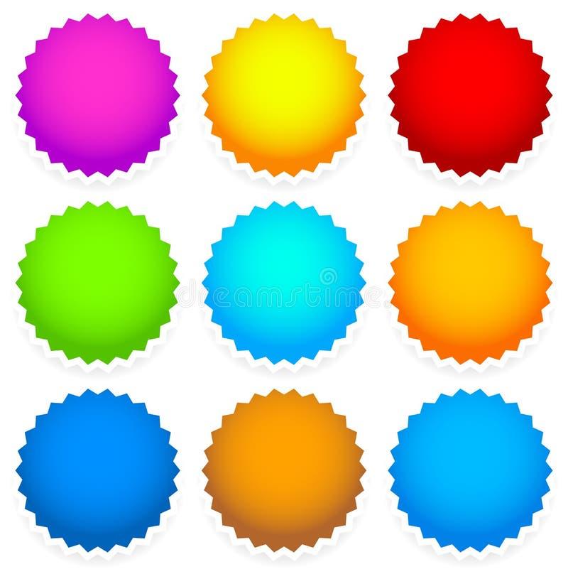 9 jaskrawa pusta odznaka, starburst kształt ilustracji