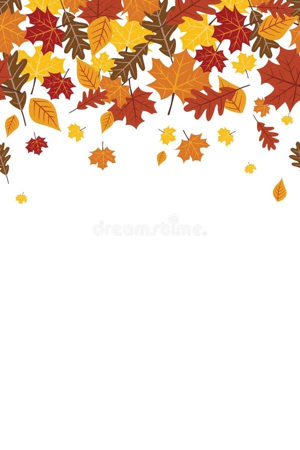 Jaskrawa Spada spadek jesieni liści Vertical Wielostrzałowa granica 1 royalty ilustracja