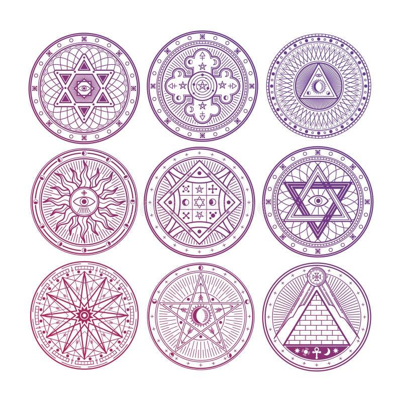 Jaskrawa tajemnica, guślarstwo, occult, alchemia, mistyczni ezoteryczni symbole odizolowywający na białym tle royalty ilustracja