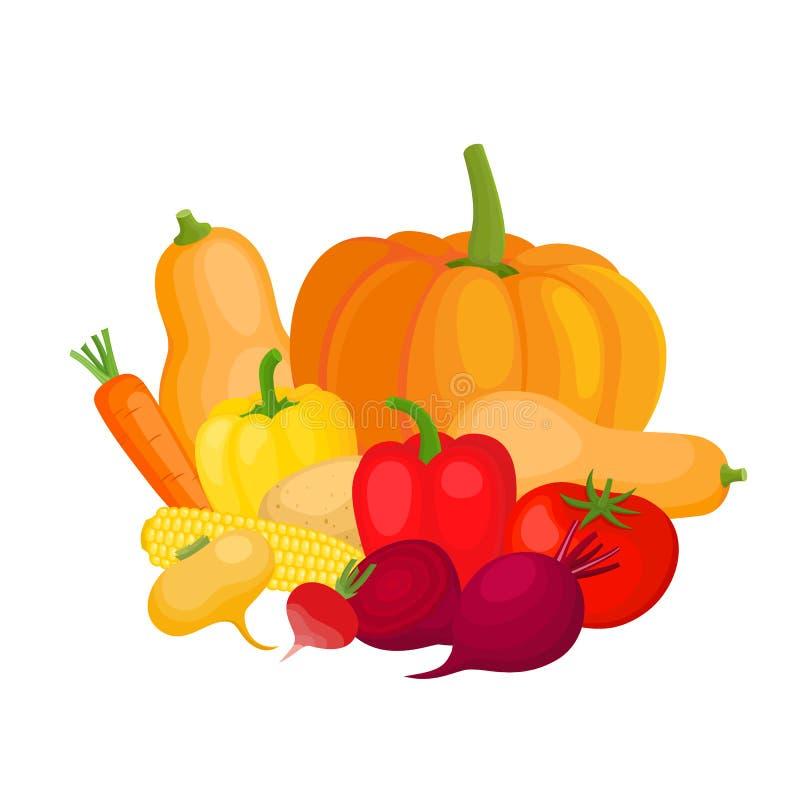 Jaskrawa wektorowa ilustracja kolorowy kolor żółty, pomarańcze, czerwoni warzywa ilustracji