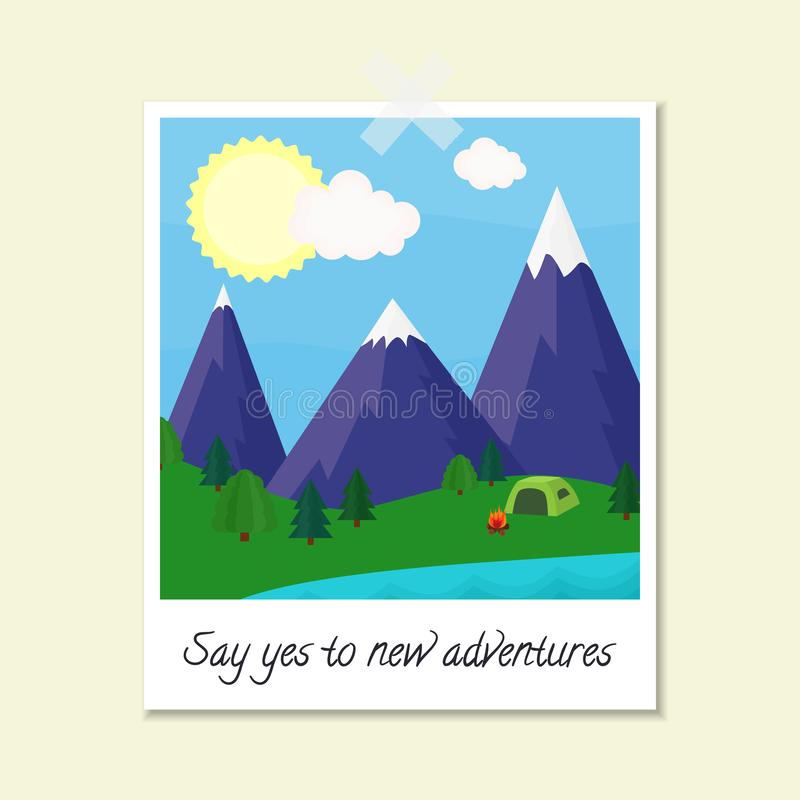 Jaskrawa wektorowa ilustracja z polaroid fotografii wizerunku górami, drzewa, jezioro, namiot, ogień i tekst, «Mówimy tak nowe pr ilustracja wektor