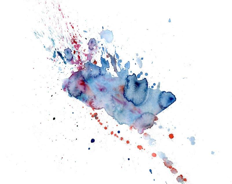 Jaskrawe akwareli menchie i błękitni plama kapinosy Abstrakcjonistyczna ilustracja na białym tle ilustracji