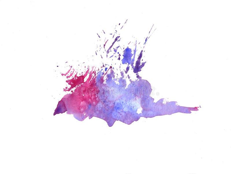 Jaskrawe akwareli menchie i błękitni plama kapinosy Abstrakcjonistyczna ilustracja na białym tle royalty ilustracja