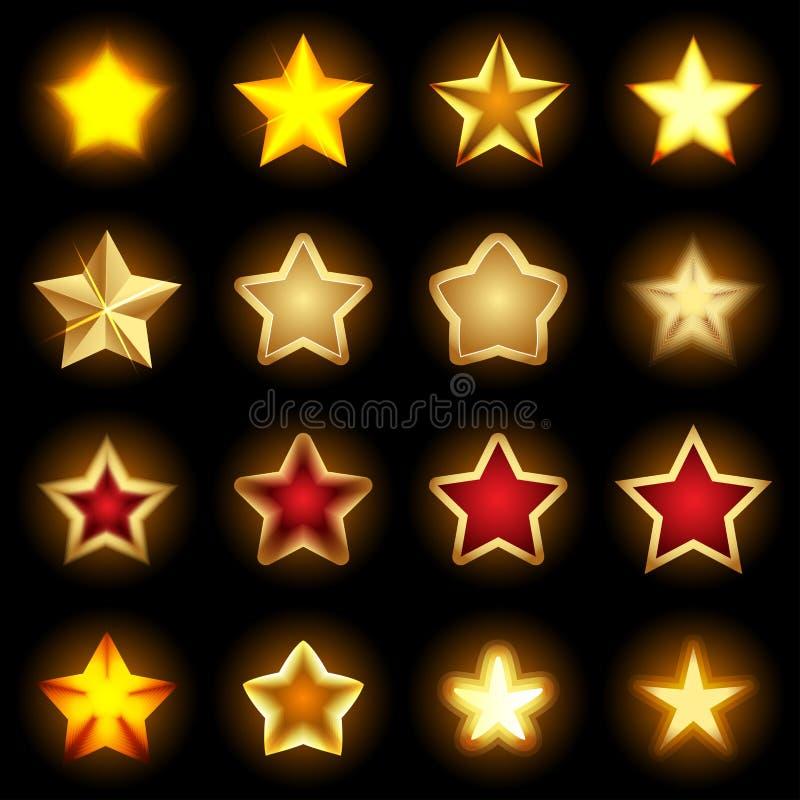Jaskrawe gwiazdowe ikony ustawiać, gwiazdowi logowie, gwiazdowa ikony sztuka, błyszczące gwiazdowe ikony, gwiazda protestują, kol royalty ilustracja