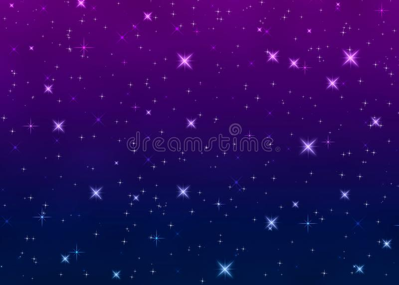 Jaskrawe gwiazdy w nocnym niebie royalty ilustracja