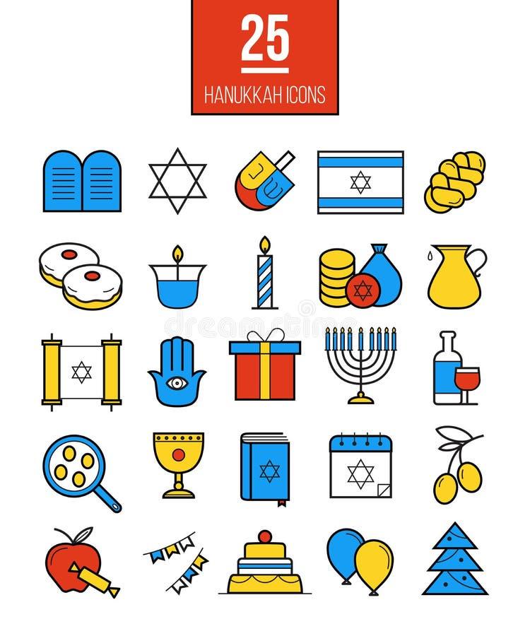 Jaskrawe Hanukkah linii ikony ustawiać Nowożytni Żydowscy kultura symbole royalty ilustracja