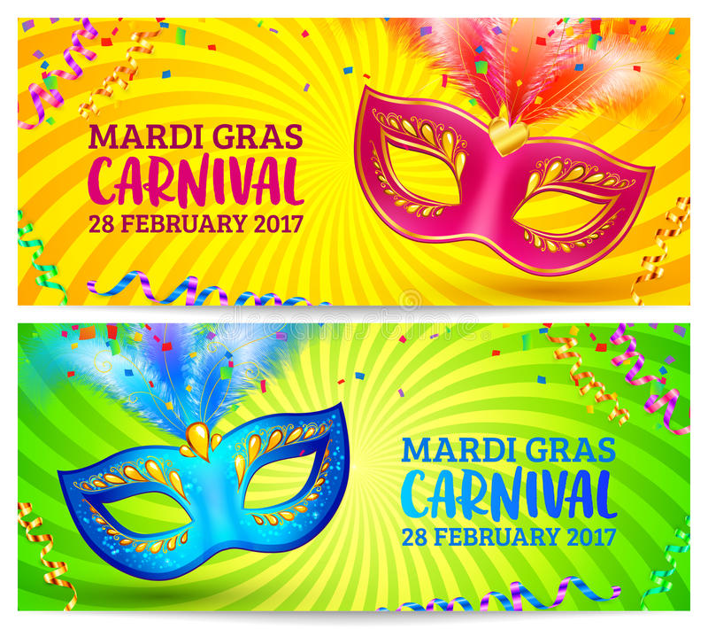 Jaskrawe karnawał maski na koloru żółtego i zieleni Mardi trawy sztandaru szablonach ilustracja wektor