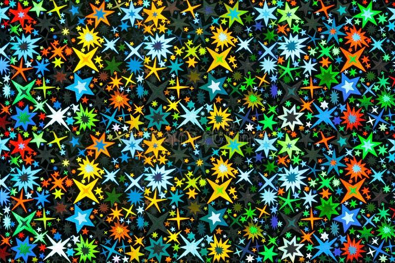 Jaskrawe Stubarwne gwiazdy na czerni zdjęcia stock