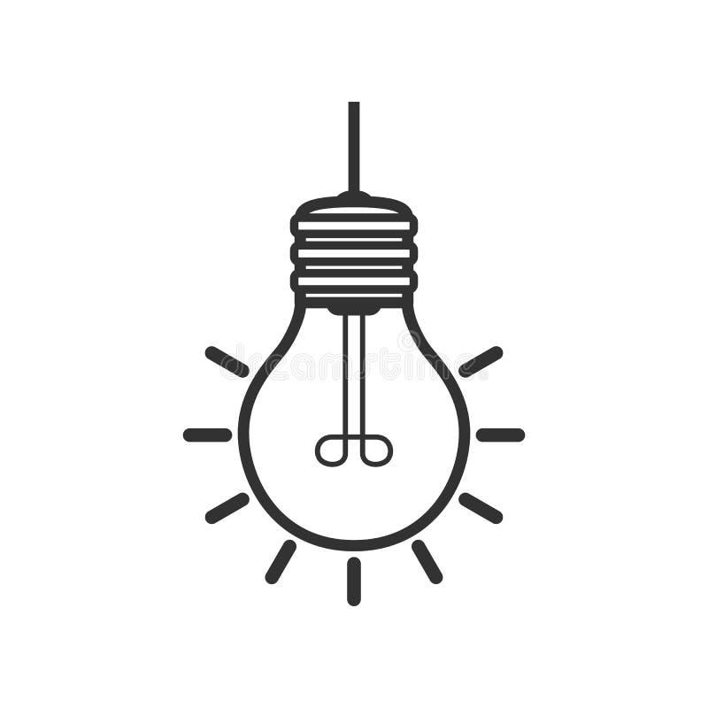 Jaskrawego żarówka konturu Płaska ikona na bielu ilustracji