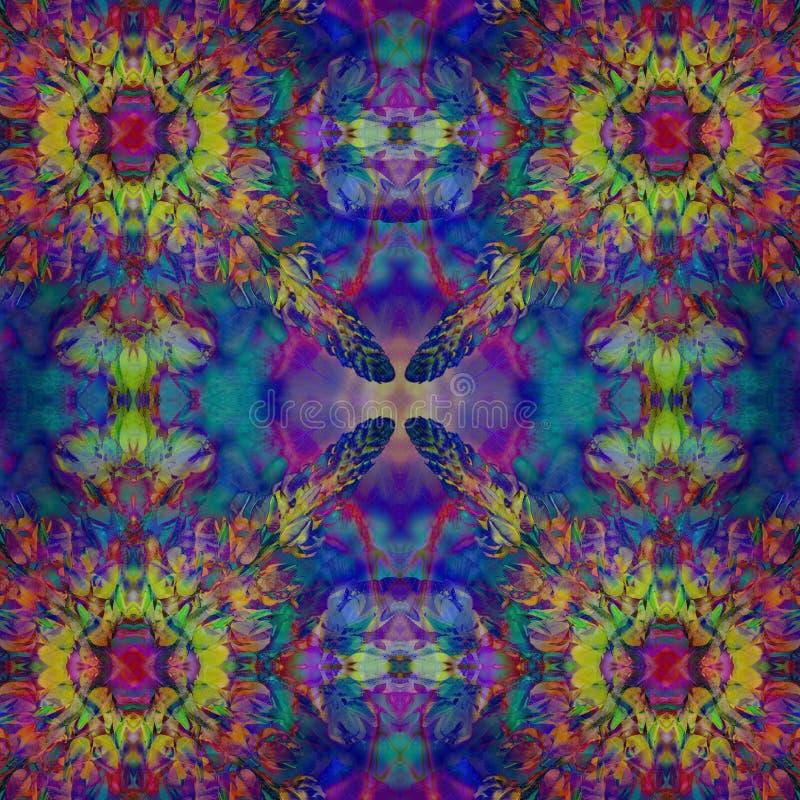 Jaskrawego bezszwowego grunge hindusa kolorowy etniczny wzór Kolaż z akwarela płatki, kleksami, liście i kwiaty i, nietoperz ilustracji