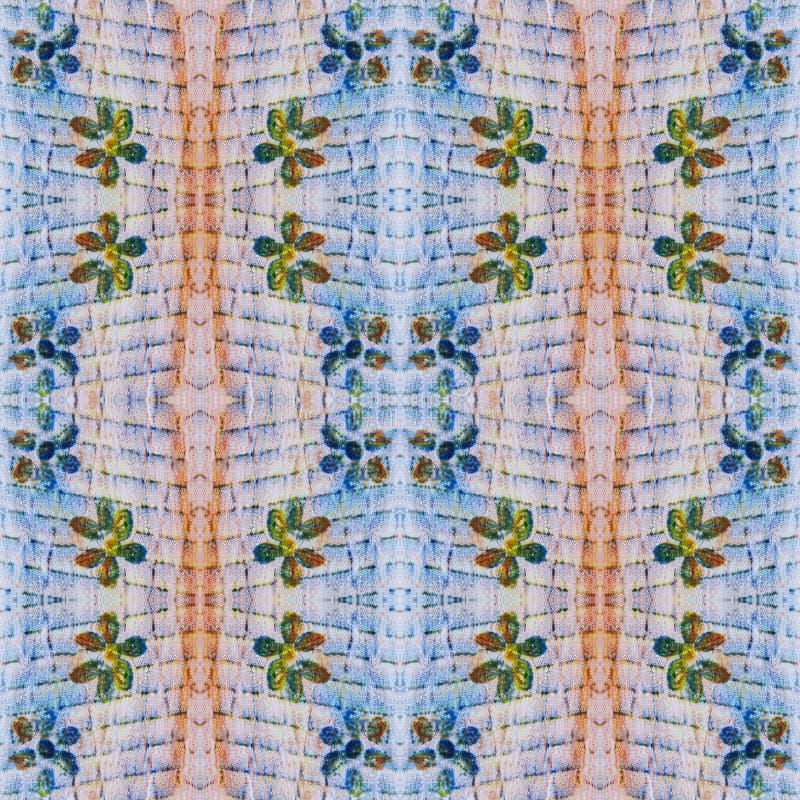 Jaskrawego bezszwowego grunge kolorowy etniczny wzór Kolaż z ręcznie robiony pastelem zaplamia, płatki, liście, kwiaty Batikowy t royalty ilustracja