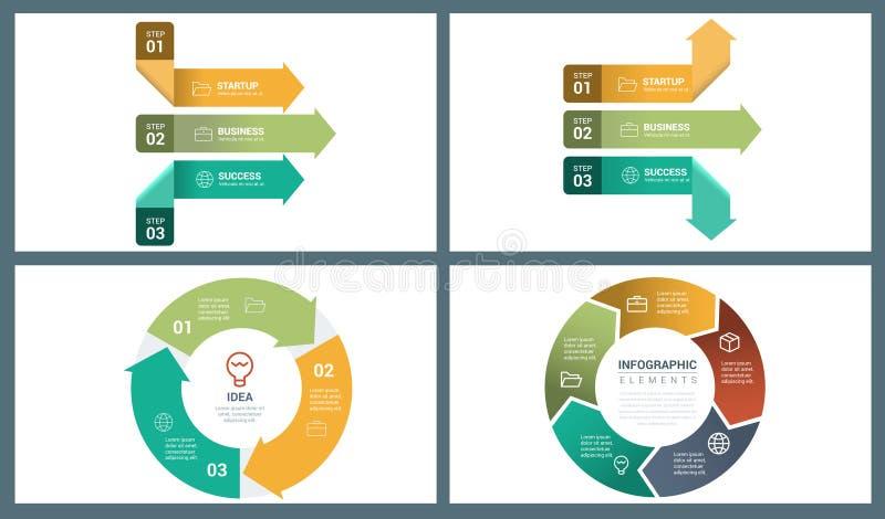 Jaskrawego Colour Wektorowa Perspektywiczna strzała i okręgu Infographic szablon ilustracja wektor