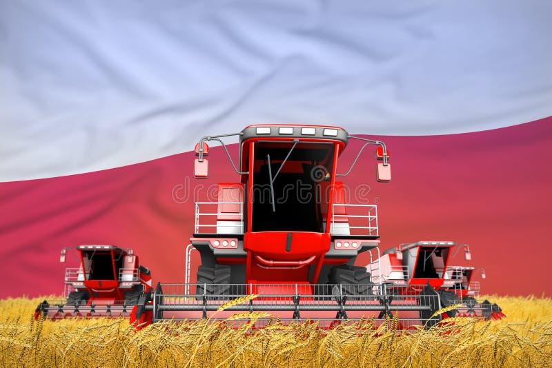 4 jaskrawego czerwonego syndykata żniwiarza na rolnym polu z chorągwianym tłem, Polska rolnictwa pojęcie - przemysłowa 3D ilustra royalty ilustracja