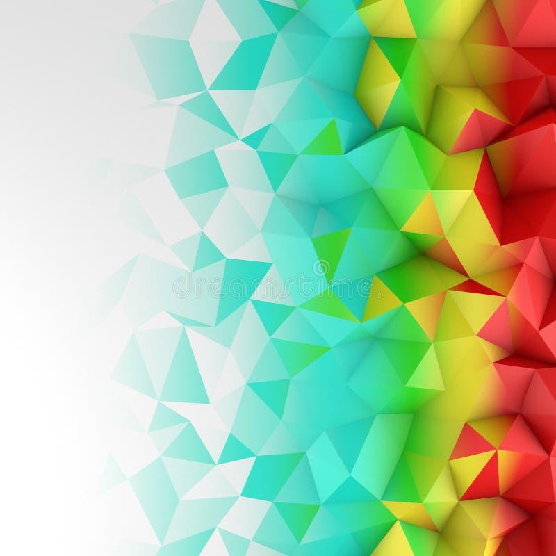 Jaskrawego koloru gradientowego niskiego poli- kształta abstrakcjonistyczny 3D rendering royalty ilustracja