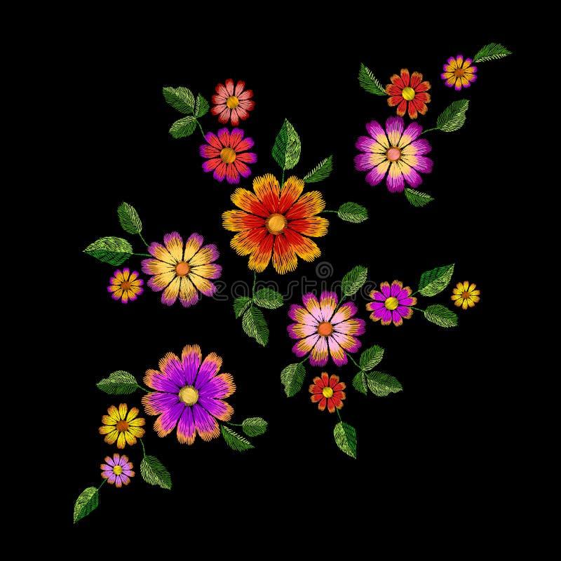 Jaskrawego kwiatu hafciarska kolorowa łata Mody dekoraci tekstury zaszyty szablon Etniczny tradycyjny stokrotki pole ilustracja wektor
