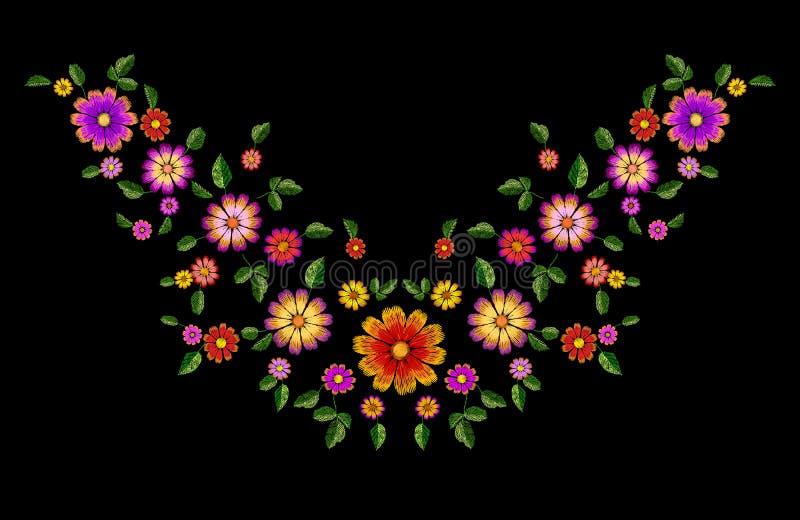 Jaskrawego kwiatu hafciarska kolorowa łata Mody dekoraci tekstury zaszyty szablon Etniczny tradycyjny stokrotki pole ilustracji