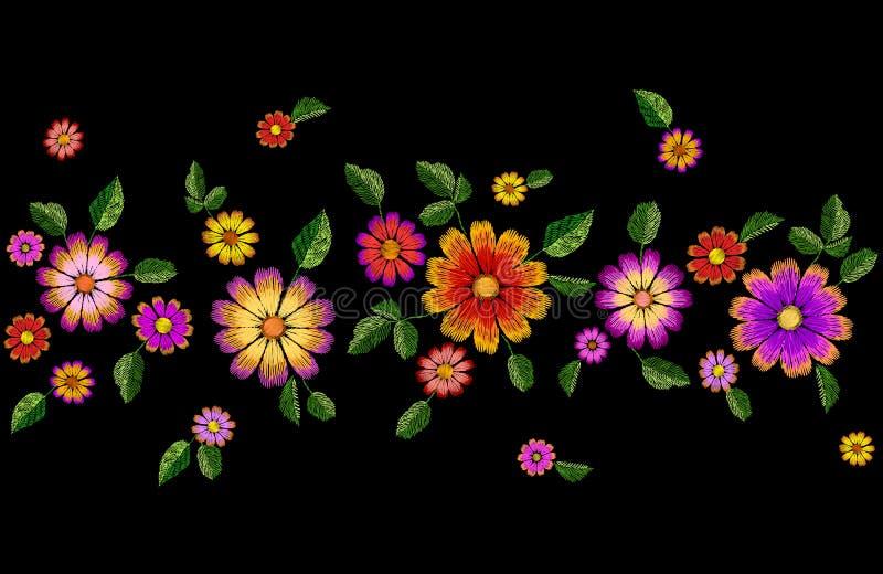 Jaskrawego kwiatu hafciarska kolorowa bezszwowa granica Mody dekoraci tekstury zaszyty szablon Etniczny tradycyjny ilustracji