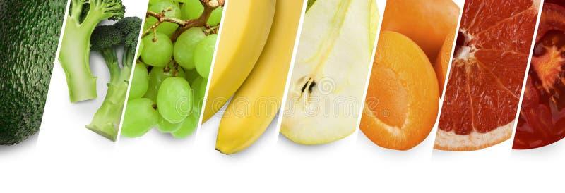 Jaskrawego lata karmowy kolaż, owoc, świeże zieleni, koloru żółtego i pomarańcze, ilustracji
