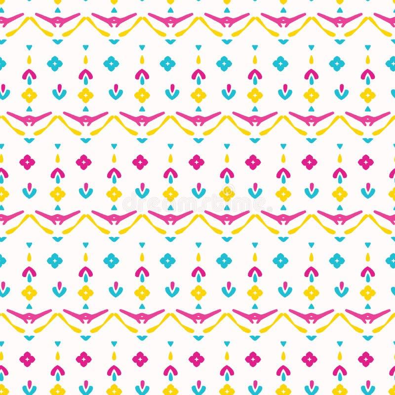 Jaskrawego lato kwiatu etnicznego kwiatu wektoru bezszwowy wzór Stylizowana boho koronka kwiecista po całym druk Ładnych 1970s re royalty ilustracja
