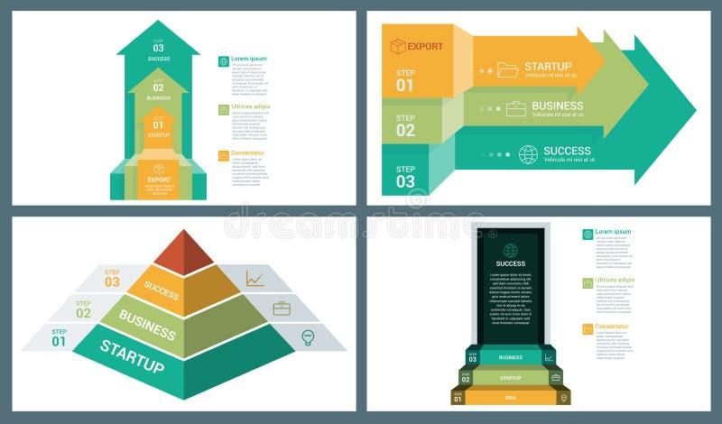 Jaskrawego odcienia Colour Wektorowa Perspektywiczna strzała, ostrosłup i Drzwiowy kroka Infographic szablon, ilustracja wektor